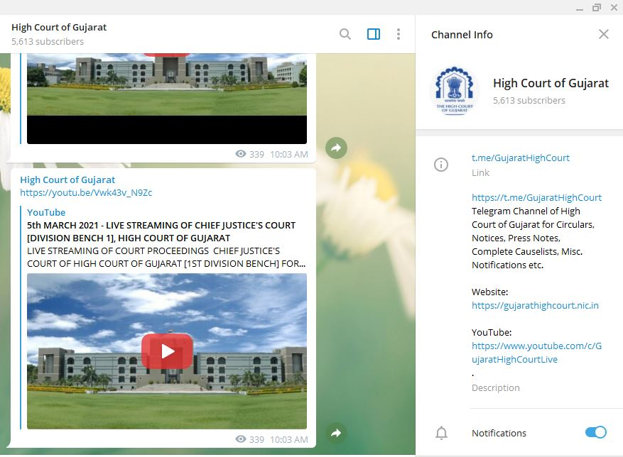 Gujarat High Court Telegram Channel for High Court Advocates, Litigants & other stake holders